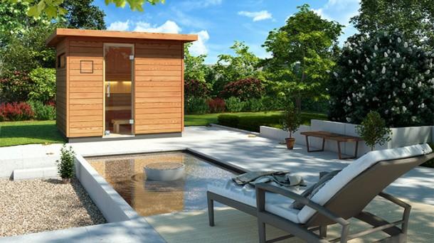 klafs sauna und wellness referenzen neue gartensauna velito. Black Bedroom Furniture Sets. Home Design Ideas